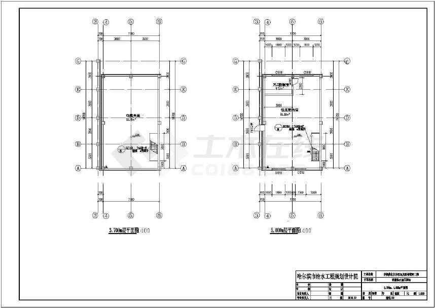 某地加压泵站综合楼变电所送水泵房建筑施工图纸-图2