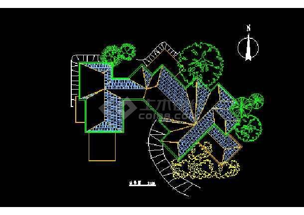 某市会馆建筑CAD施工设计平面图-图2