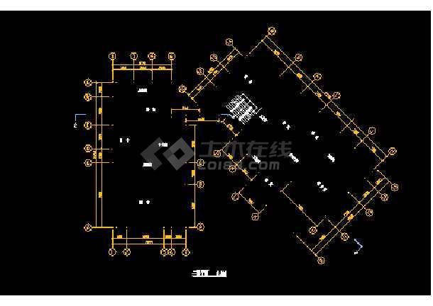 某市会馆建筑CAD施工设计平面图-图3