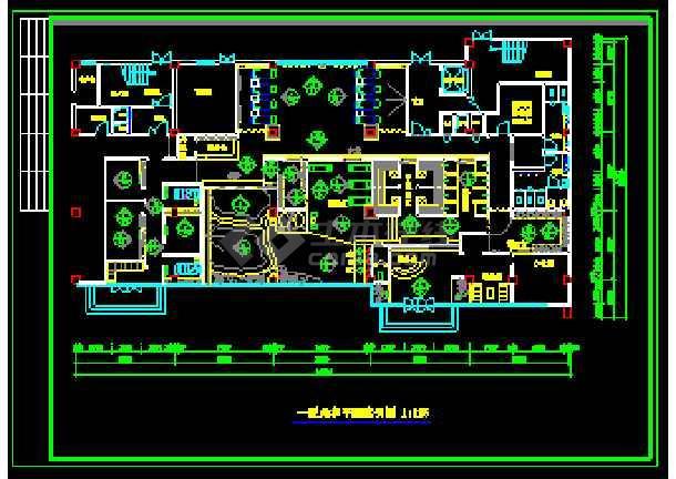 某桑拿房设计装修cad施工设计平面图图