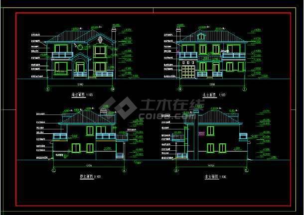 南京亚东花园城小区小别墅cad施工图-图2