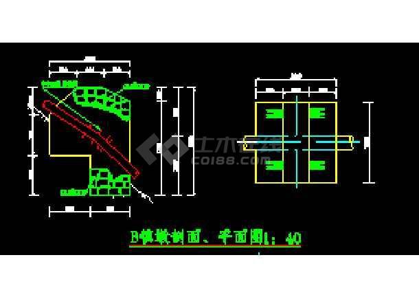 桥梁中镇,支墩cad设计平面施工图
