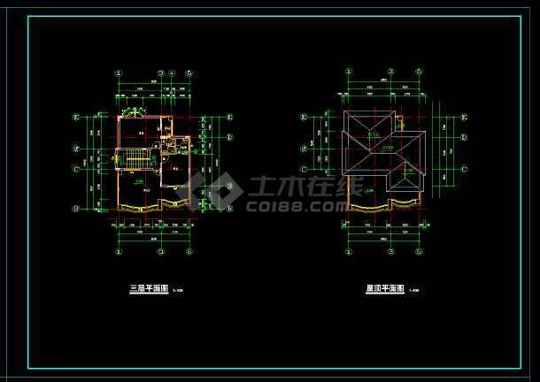 某地高档三层别墅设计cad施工图-图1