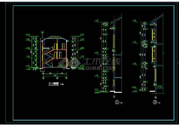某地高档三层别墅设计cad施工图-图2