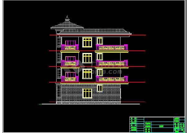 某四层地中海图纸顶部建筑CADv图纸串珠图纸别墅风格盒纸巾图片