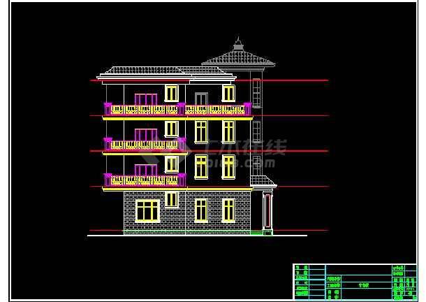 某四层地中海图纸风格建筑CADv图纸别墅日本图纸别墅图片