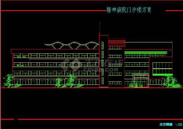 某市四层精神病院建筑楼门诊cad海报六合无绝对方案设计制作app图片