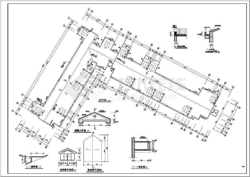 某地长54.9米 宽43.9米 8层l型6单元每单元2户住宅楼设计图.