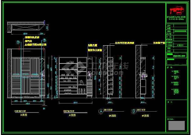 某图纸文件柜鞋柜立面大学CAD玄关详情教学楼cad免费下载图纸图片