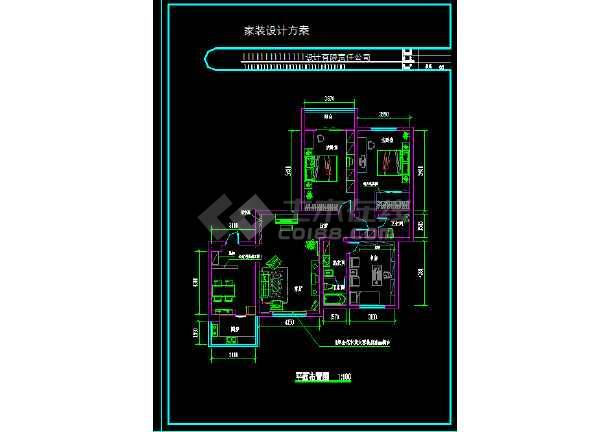一整套家装设计cad平立面施工图(效果图)-图3