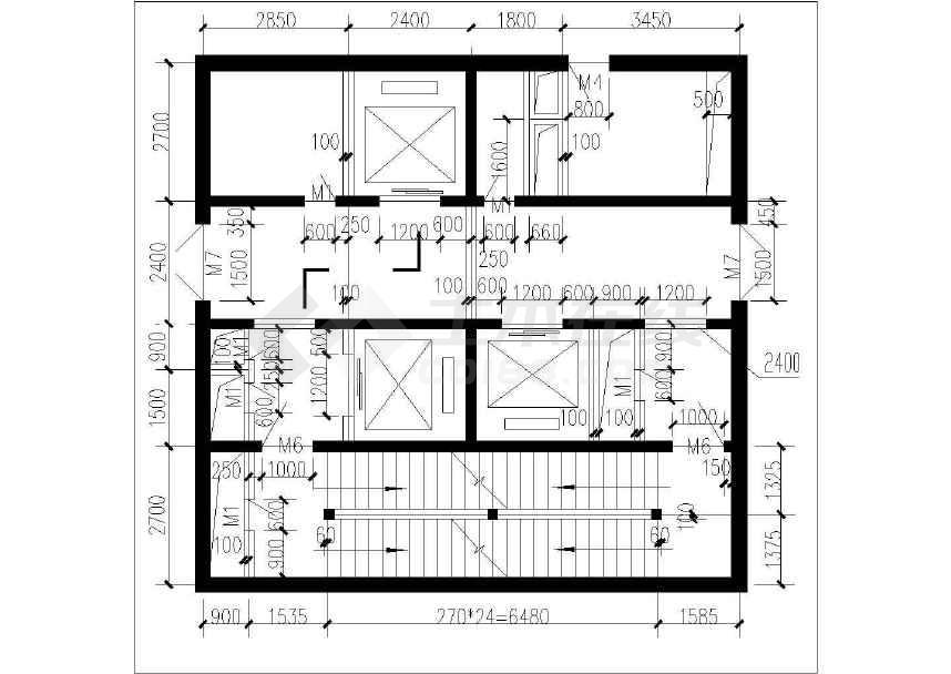 简单实用的几种高层办公楼核心筒建筑设计图(标注详细图片