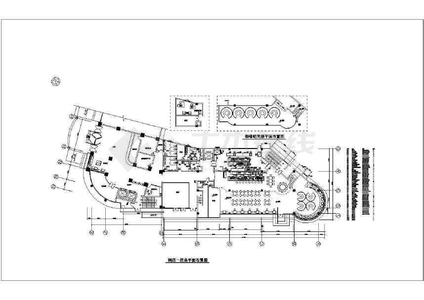 商务酒店大堂和餐厅cad平面图纸图片