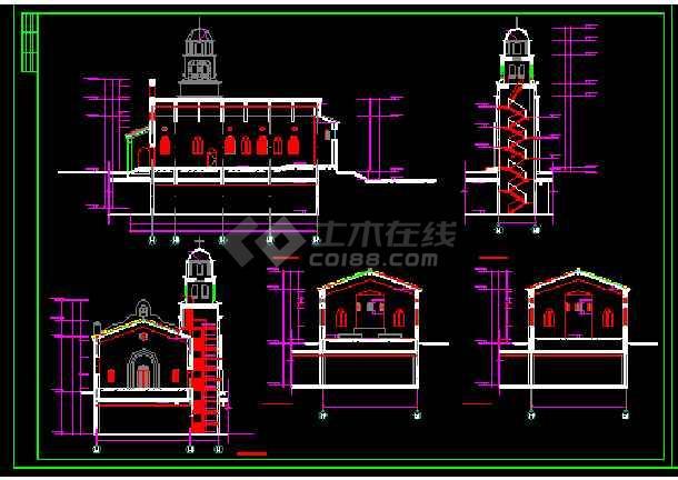 英伦风情教堂建筑施工cad设计方案图纸-图1
