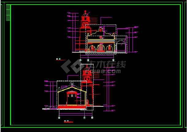 英伦风情教堂建筑施工cad设计方案图纸-图2