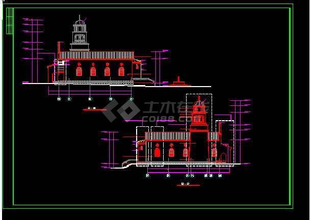英伦风情教堂建筑施工cad设计方案图纸-图3