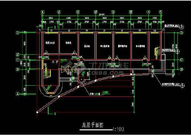 小学教学楼平面建筑设计cad施工图-图1