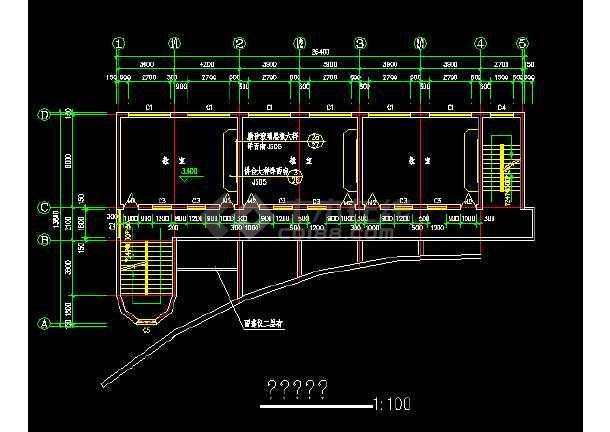 小学教学楼平面建筑设计cad施工图-图2