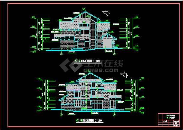 全套别墅建筑施工设计cad平立面图纸