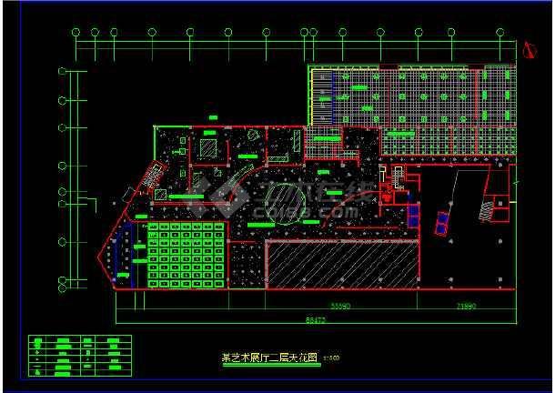 艺术展馆装修设计方案前提CAD图纸-图3