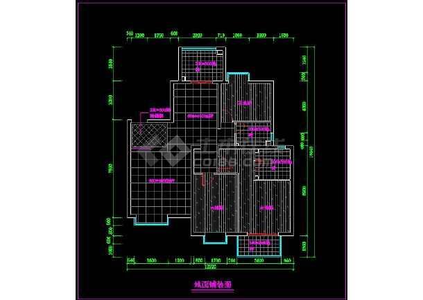 某家居室内装修cad平面施工图,地面铺装详图