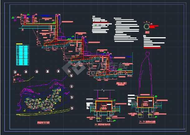 某公园雕塑水池结构CAD设计详图-图1