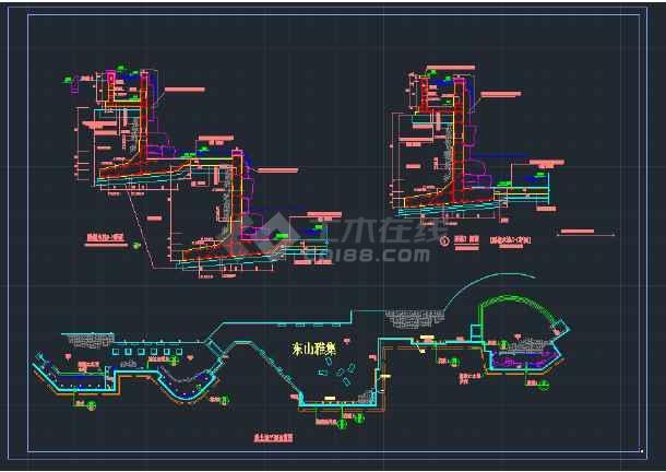 某公园雕塑水池结构CAD设计详图-图3