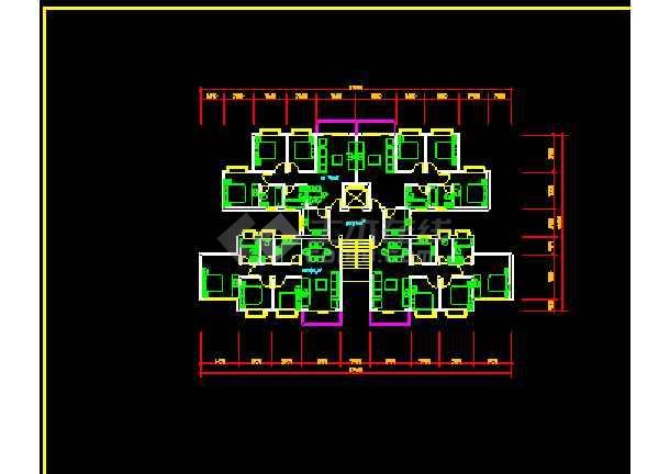 某小区户型楼平面建筑CAD施工设计图