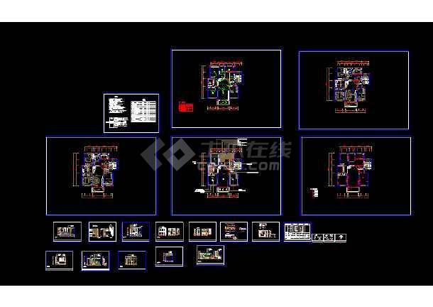 全套别墅装修cad图纸平面v全套方案图纸上广电d2166住宅图片