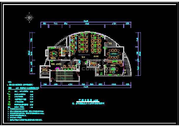 半圆户型办公室室内装修cad方案施工方案图