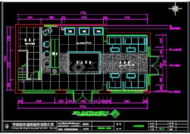 某住宅项目小型售楼处cad施工设计平面图纸图片