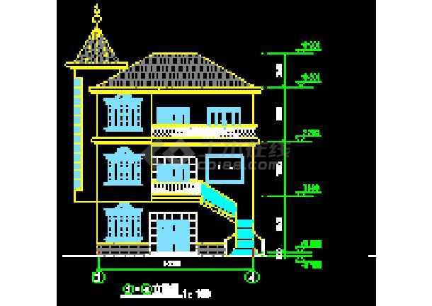 某农村三层别墅设计施工cad图纸图片3