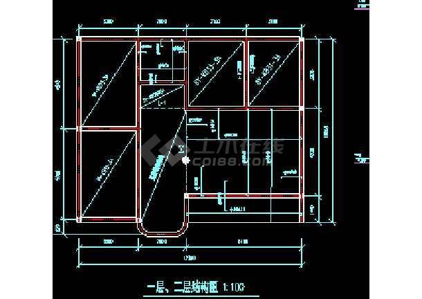 某市自由住宅楼民房建筑cad施工设计图