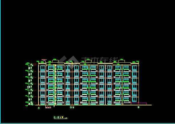 某市多层住宅建筑cad施工设计平立面图