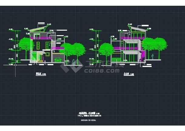 某地区别墅小家庭平立剖面v别墅cad施工图别墅南阳建业图片