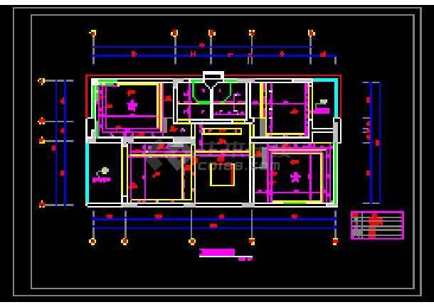 某别墅二层房间平面设计cad图纸
