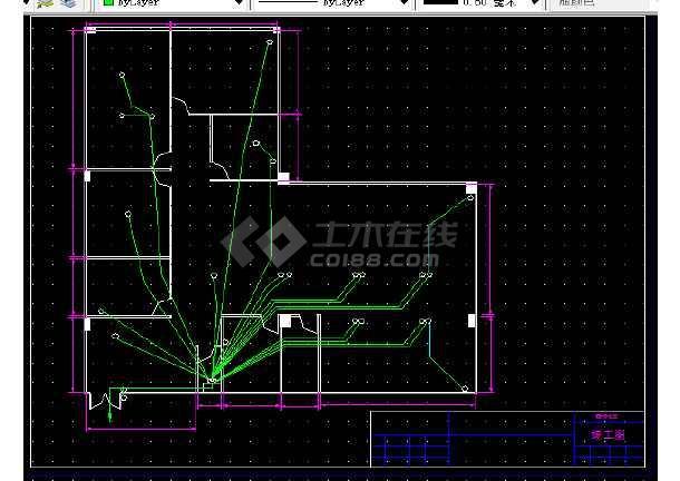 办公室网线图纸插座v网线照明CAD图纸康佳tk2121pp2182821828全套图片
