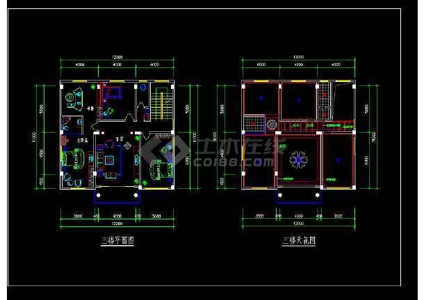 本资料为:某复式楼套房室内装修cad平面图,内容:平面图,天花图,内容