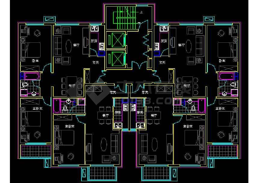 4种 1楼梯2电梯4户1个 90平米高层户型图