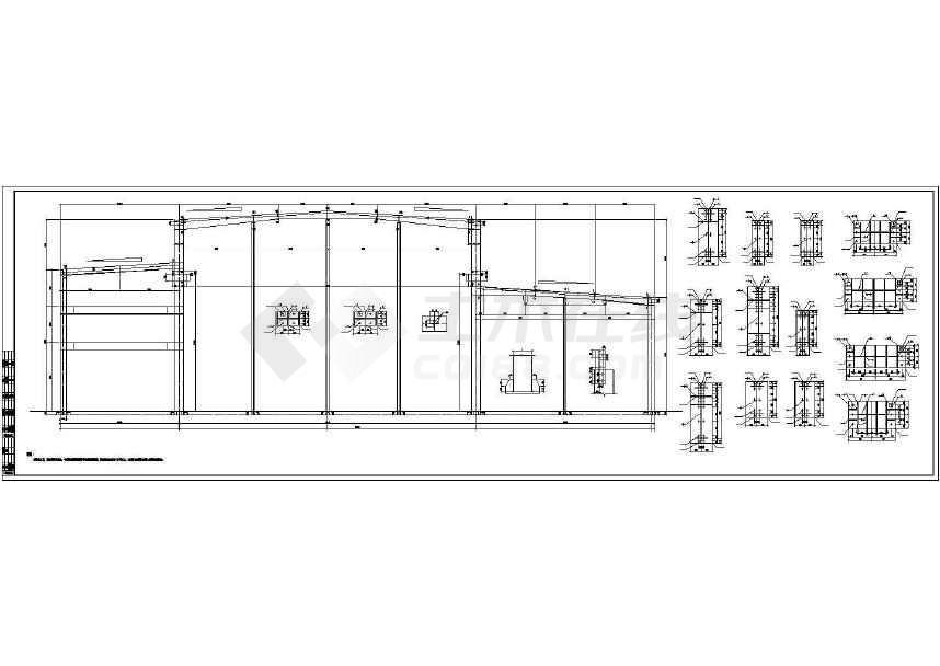 60米跨度钢结构厂房建筑图纸(带夹层)