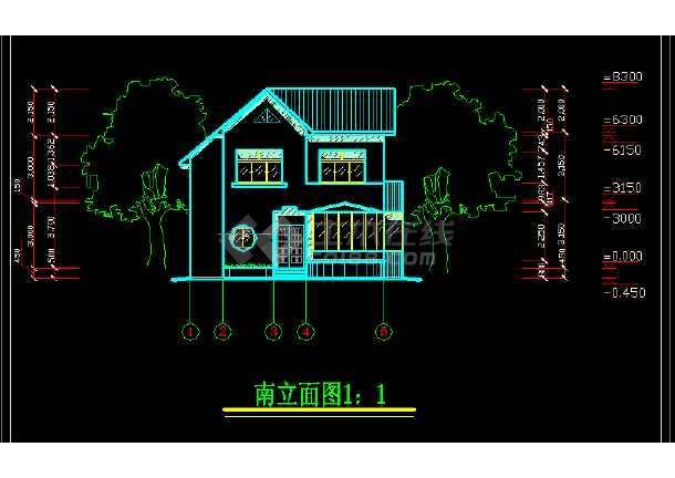 家庭小别墅设计方案全套cad平立剖面图