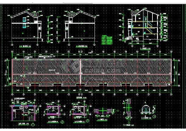 连体别墅建筑方案设计全套cad图纸