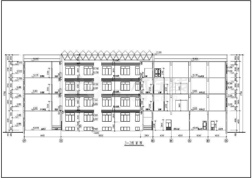 某地小型宾馆洗浴部建筑设计图(共4张)
