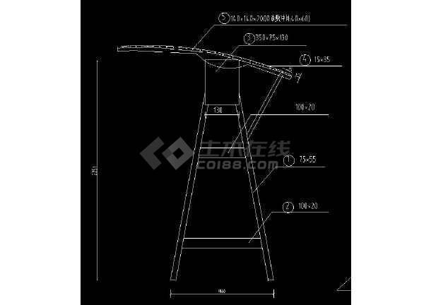 秋千cad设计立面结构设计施工图纸图片