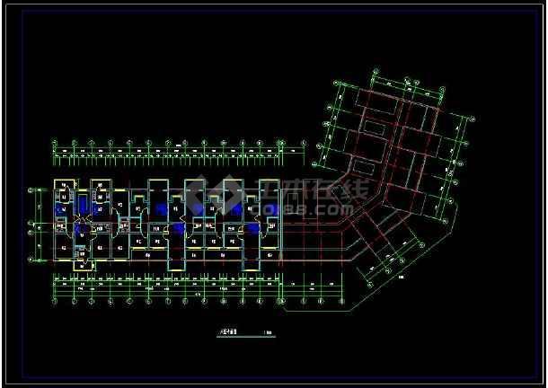 多层转角楼住宅楼的cad平面设计图