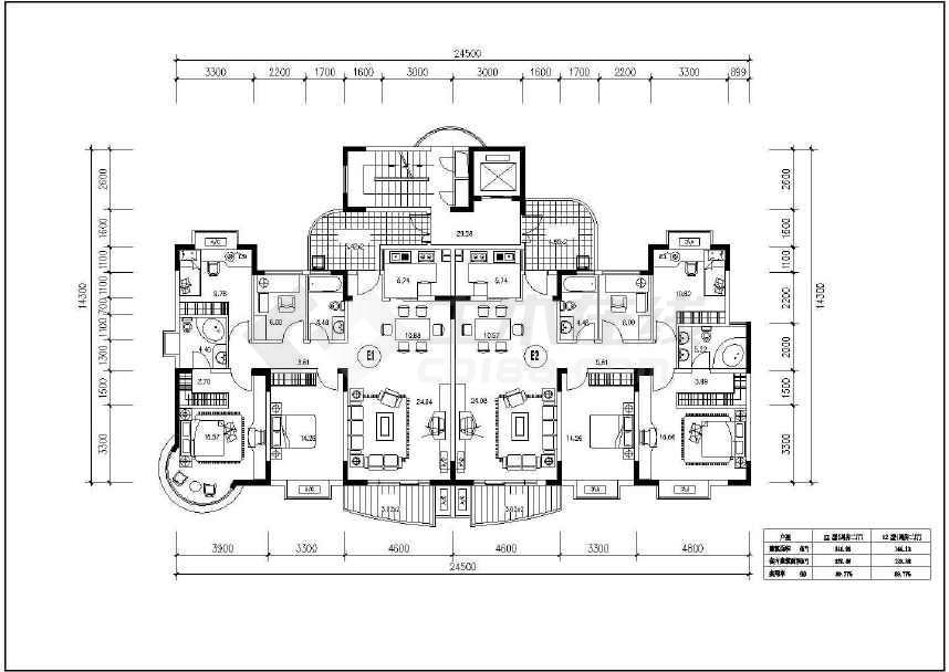 300余张详细一梯两户住宅户型图设计