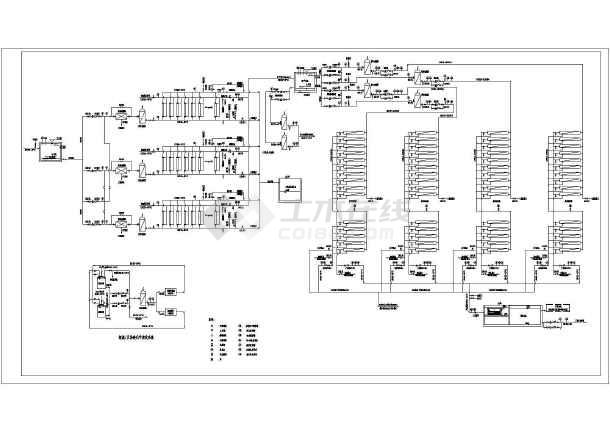 超滤反渗透中水回用工艺流程CAD图-图1
