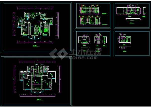 住宅多层装修的cad平面设计建筑图纸FD什么卫生间是上图纸图片