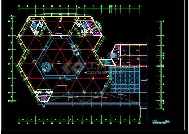 某展览中心建筑施工cad设计方案图纸-图2
