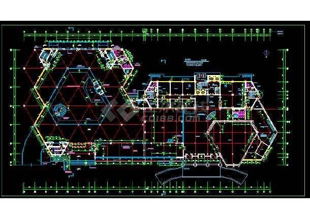 某展览中心建筑施工cad设计方案图纸-图3