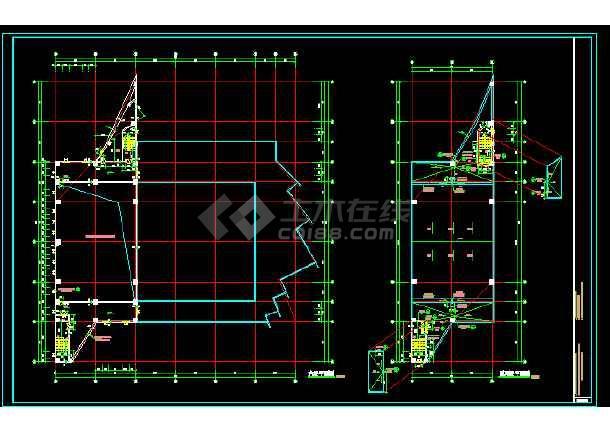 文化馆建筑施工cad设计方案图纸-图1